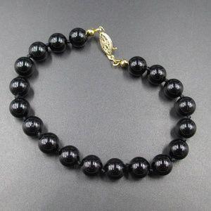 Vintage 8 Inch Stunning Black Stone Bracelet